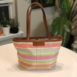 Coach Multicolored Pastel Stripe Tote
